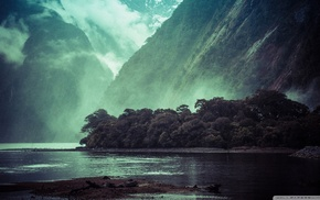 lake, landscape, cliff, mountain, trees, mist
