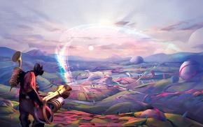 colorful, rainbows, Pyro character, gun, Team Fortress 2