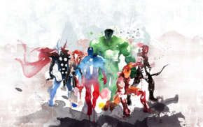 Hulk, Captain America, Hawkeye, Thor, Iron Man, Black Widow