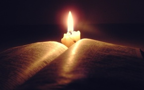 candles, books, Holy Bible, lights, Christianity