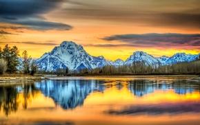 colorful, nature, reflection, Grand Teton National Park, sunset, landscape