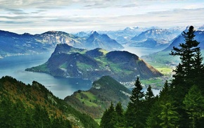 mountain, city, forest, lake, nature, trees
