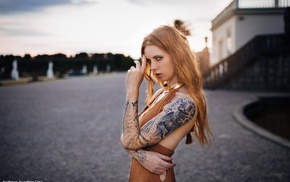 piercing, building, tattoo, blue eyes, open mouth, girl outdoors