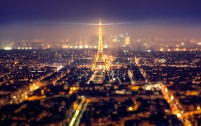 night, Eiffel Tower, tilt shift, Paris