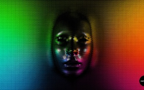 rainbow colors, face, pixels