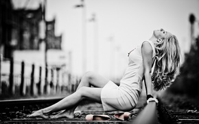 monochrome, selective coloring, girl, railway, legs, dress