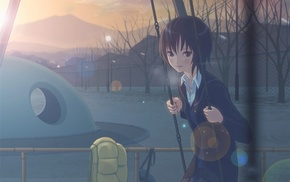 swings, Amagami, anime girls, school uniform, Nanasaki Ai