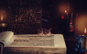 mice, castle, books, candles