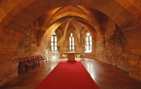cross, church, chair, interiors, Altar, castle