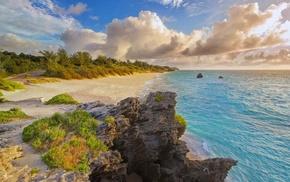 shrubs, clouds, water, Bermuda, sand, island