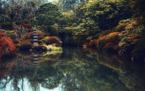 pond, water, bridge, landscape, Japanese, nature