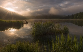 clouds, lake, landscape, sun rays, sunlight, atmosphere