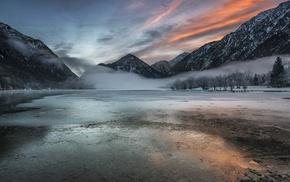 sunrise, landscape, snow, winter, forest, lake