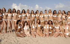 beach, bikini, Miranda Kerr, model, sand, Adriana Lima