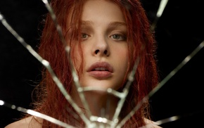 glass, broken glass, redhead, face, green eyes, movies