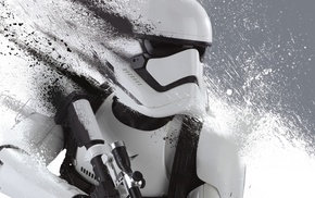 Star Wars, artwork, monochrome, dual monitors, Star Wars Episode VII, The Force Awakens