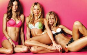 Erin Heatherton, Candice Swanepoel, model, lingerie, Alessandra Ambrosio
