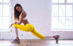 fitness model, walls, wooden surface, sports, skinny, girl