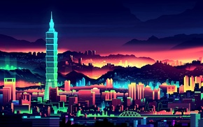 Taiwan, colorful, Taipei, artwork, city, glowing
