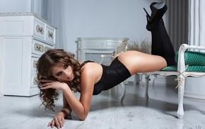 high heels, black stockings, girl, wavy hair, ass, stockings
