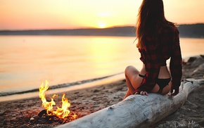sitting, back, lingerie, sand, sea, beach