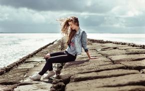 blonde, jeans, sitting, closed eyes, girl, sneakers
