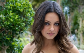 eyes, girl outdoors, Mila Kunis, celebrity, wavy hair, brunette