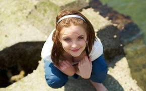 blonde, eyes, face, girl outdoors, portrait