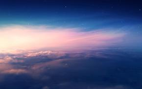 clouds, nature, sunset, stars