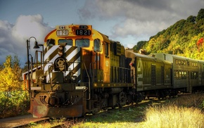 machine, train, landscape, technology, shrubs, hill
