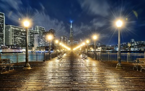 night, urban, city, bench, landscape, walkway