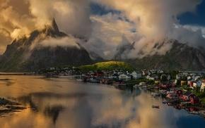 sea, town, landscape, island, sunlight, mountain