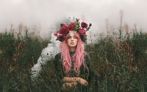 pink hair, wreaths, model, girl, girl outdoors