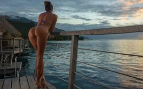 cloud, bikini, model, sky, rear view, water