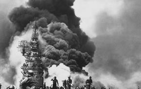 monochrome, explosion, World War II, war