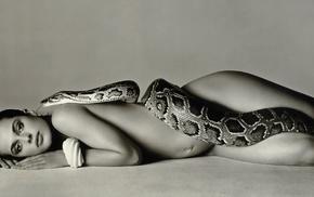 snake, non, nude, monochrome, Nastassja Kinski