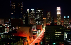 lights, night, cityscape, building, Los Angeles, road