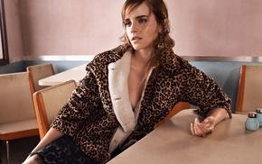celebrity, brunette, Emma Watson, fur coats, animal print, actress