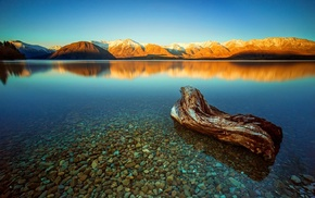 snowy peak, stones, landscape, sunset, lake, water