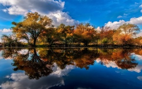 shrubs, fall, lake, clouds, trees, landscape