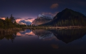 mountain, landscape, calm, starry night, snowy peak, lake