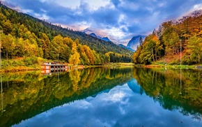 landscape, trees, Germany, forest, lake, mountain