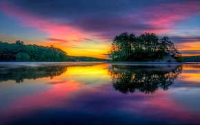 lake, sunrise, calm, Massachusetts, sky, landscape