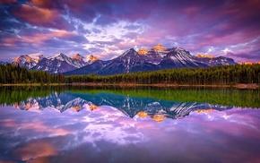 clouds, mountain, Canada, lake, landscape, snowy peak