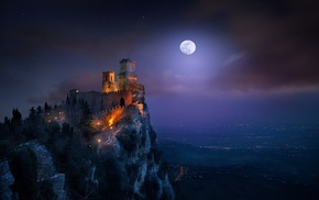 mist, architecture, clouds, moon, San Marino, starry night