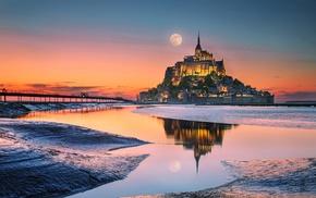 World Heritage Site, monastery, France, moon, church, landscape