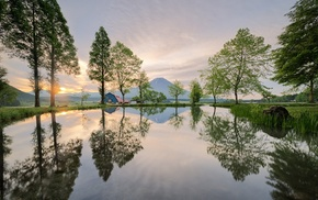mountain, Japan, landscape, sunrise, nature, trees