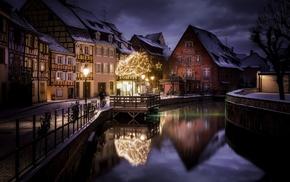 house, canal, city, street, lantern, France