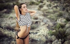 pierced navel, bikini, girl, striped, closed eyes