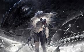 alcd, dragon, Pixiv Fantasia, fantasy art, girl, sword